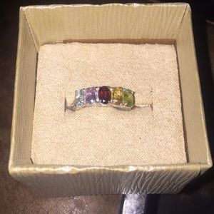 925 silver with colorful precious gems size 7.5